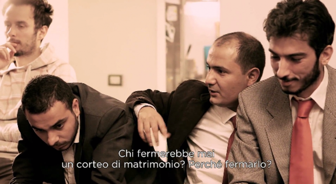 Io sto con la sposa (2014) , screenshot dal film. Courtesy by Antonio Augugliaro